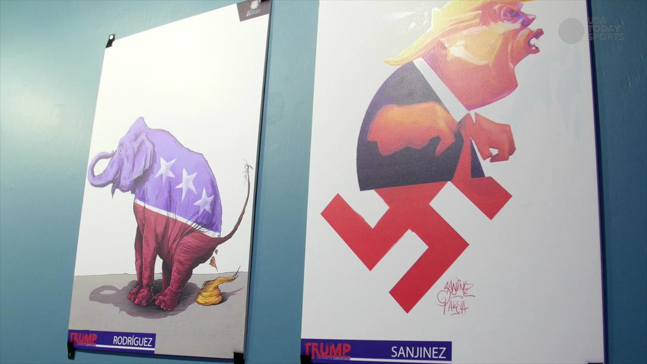 Mexico City cartoon exhibit depicts Donald Trump as a Nazi