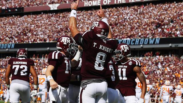 No. 7 Texas A&M blew a late lead but held off No. 9 Tennessee 45-38 in two overtimes to remain undefeated.