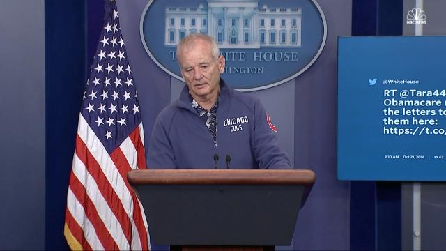 Bill Murray made a surprise detour to the White House's press room. Video provided by Newsy