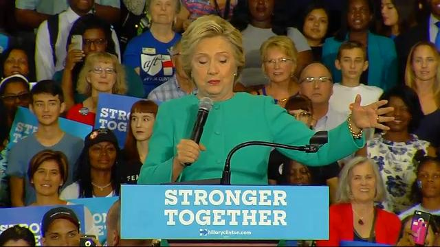 Hillary Clinton told supporters at a campaign rally in Lake Worth, Florida Wednesday that Republicans and Democrats are coming together to support her candidacy. (Oct. 26)