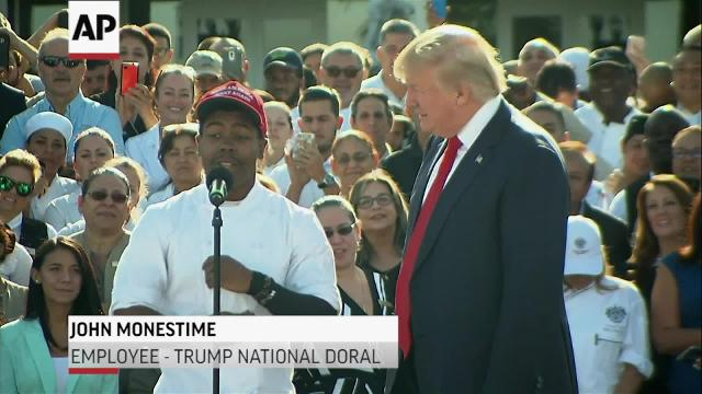Trump speaks in front of backdrop of employees at Trump's Doral, Florida golf course and encourages workers to come to the microphone and give testimonials. (Oct. 25)
