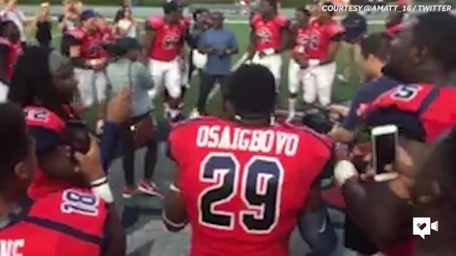 Football team pulls off epic proposal for teammate