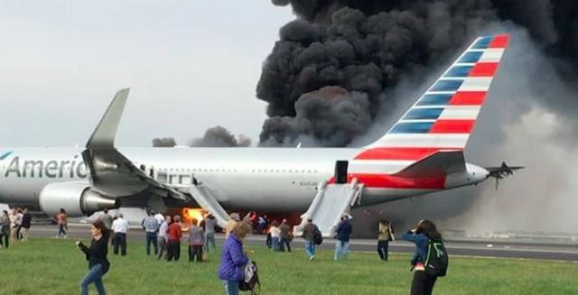 American Airlines plane catches fire at O'Hare Airport, passengers evacuated