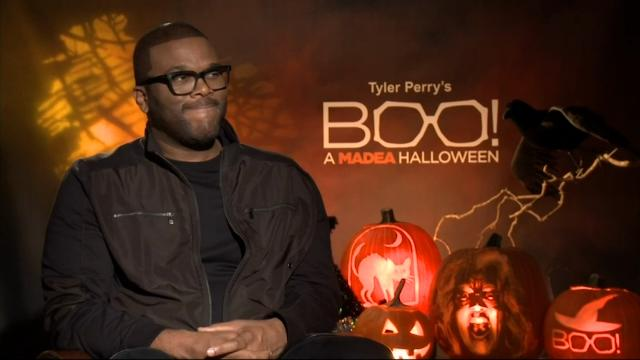 """While promoting his latest movie """"Tyler Perry's Boo! A Madea Halloween,"""" Perry says that the run for the White House is """"offensive and embarrassing"""" and urges people to go out and vote. (Oct. 27)"""