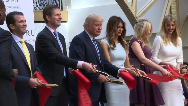 With just 13 days to go before Americans choose a new president, Republican contender Donald Trump takes a brief break from campaigning to promote his new hotel in Washington, not far from the White House. Video provided by AFP