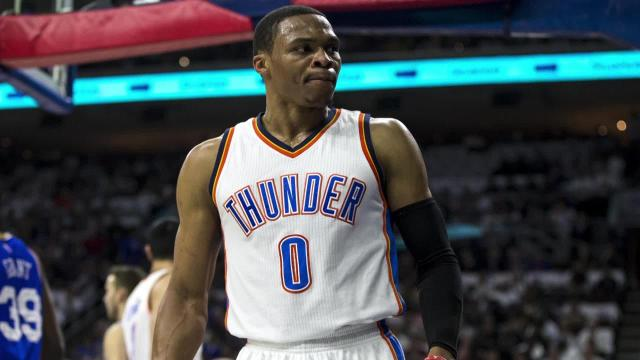 A Philadelphia 76ers fan was ejected during the first quarter of the team's season opener after flipping off Oklahoma City Thunder guard Russell Westbrook.
