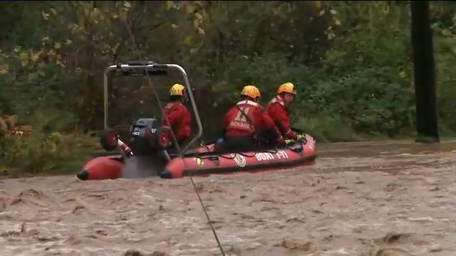 Storms dumped up to seven inches of rain on western and central Pennsylvania on Friday, flooding homes and washing away roads. (Oct. 21)