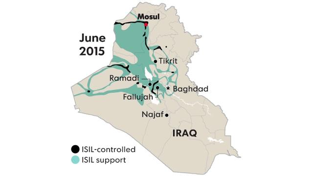 Where the Islamic State's control and support has spread in Iraq during the past two years.