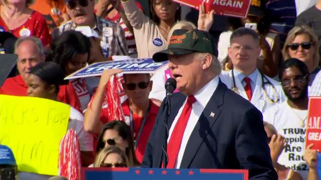 Suddenly armed with fresh political ammunition, Donald Trump seized on spiking health care costs Tuesday in a final-days effort to spark election momentum while trekking across must-win Florida. (Oct. 25)