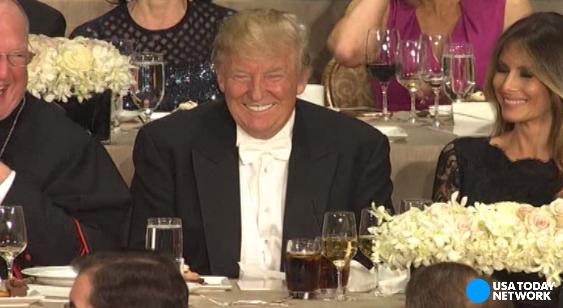 Trump, Clinton exchange jabs at Al Smith dinner