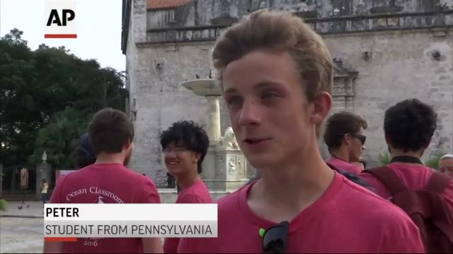 High school students from across the U.S. arrived in Cuba on Tuesday as part of a Semester-At-Sea program that will take students on an annual visit to the island nation. The students will participate in a community service project in Havana. (Oct. 25)