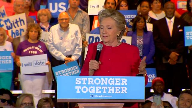 """Hillary Clinton is assailing Donald Trump for refusing to say he'll respect the outcome of the presidential election. During the rally, the crowd broke into a spontaneous singing of """"Happy Birthday"""" ahead of Clinton's 69th birthday on Wednesday. (Oct. 25)"""