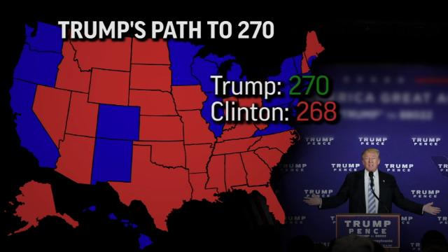 Fighting close races in several key states, Donald Trump may have only one narrow path to winning the number of delegates needed to claim victory over Hillary Clinton on November 8th. (Oct. 25)