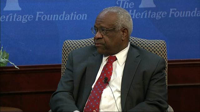 "Justice Clarence Thomas said Wednesday that the Supreme Court confirmation process is an example of how the nation's capital is ""broken in some ways."" Thomas reflected on his 25 years as a justice while speaking at the Heritage Foundation. (Oct. 26)"