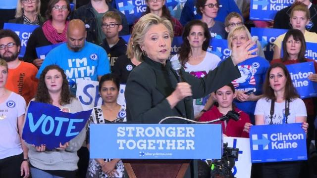 "Democratic White House hopeful Hillary Clinton accuses her opponent Donald Trump of ""threatening"" American democracy by refusing to pledge to accept the outcome of the presidential election. Video provided by AFP"