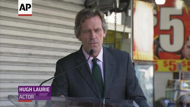 Old friends Stephen Fry and Hugh Laurie reunite as Laurie receives a star on the Hollywood Walk of Fame. (Oct. 26)