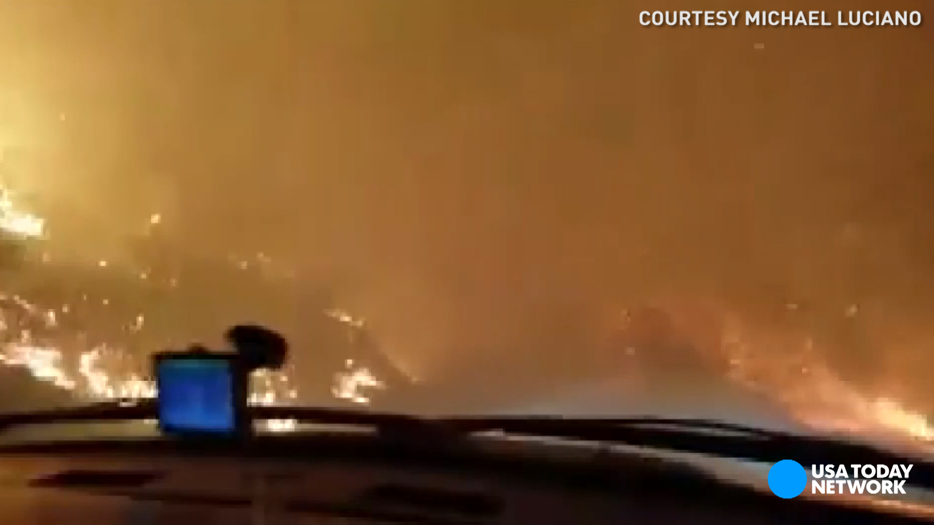Dramatic escape from Tennessee wildfire caught on camera