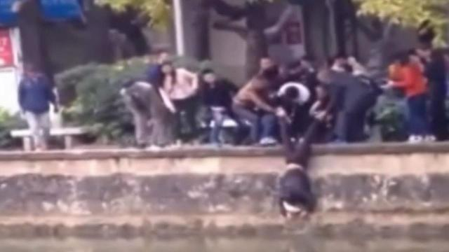 People formed a human ladder to rescue an man from a river in China