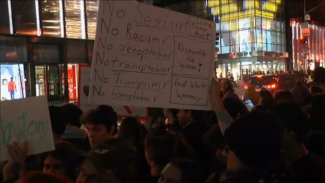 Raw: Second Night of NYC Anti-Trump Protests