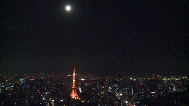 Tokyoites gaze at 'supermoon'