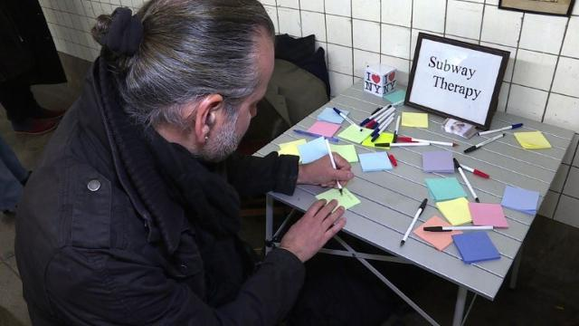New Yorkers vent Trump anger on subway Post-it notes