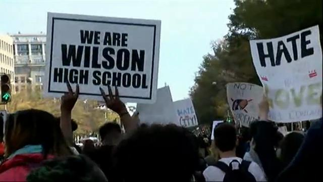Raw: DC students leave class to protest Trump