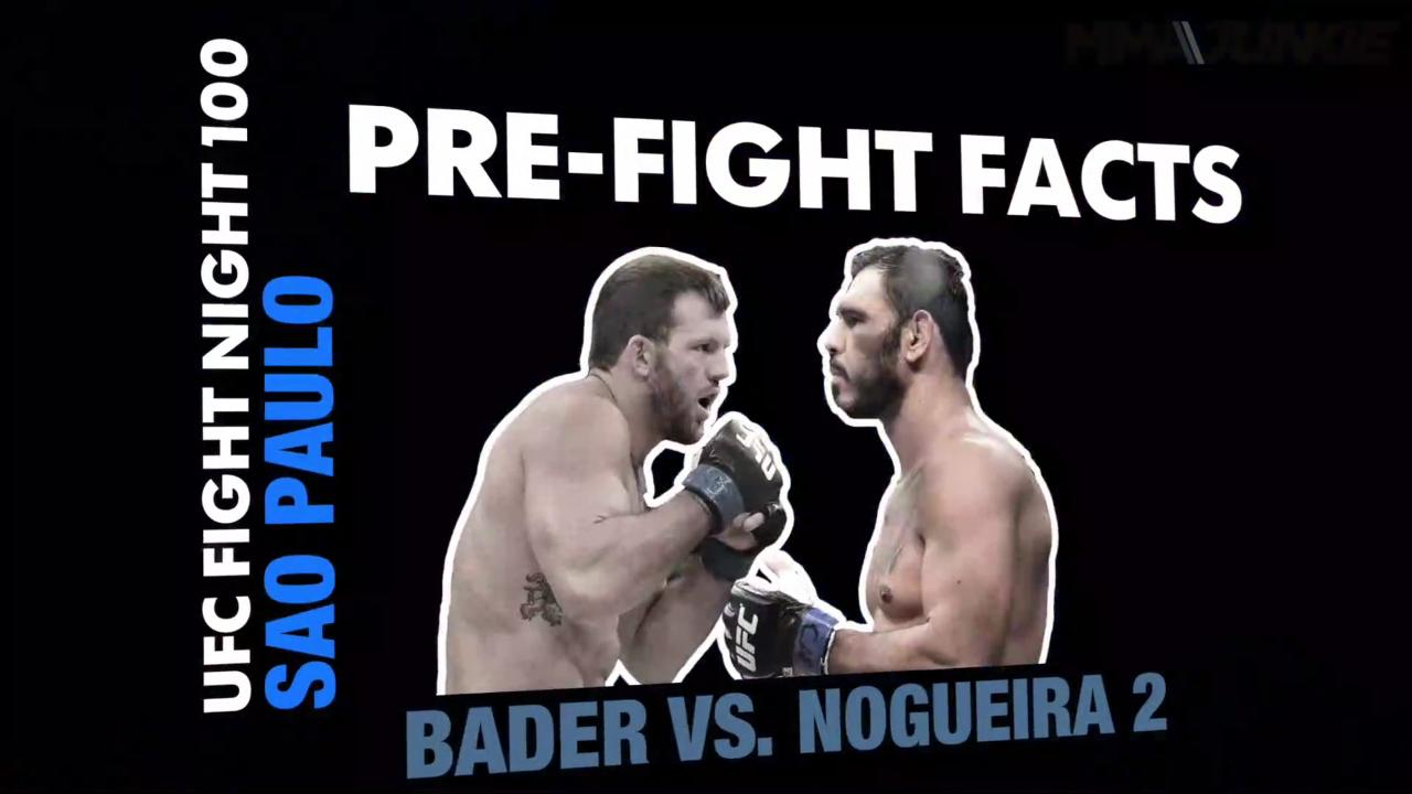 Pre-fight facts for UFC Fight Night 100: Bader vs. Nogueira 2