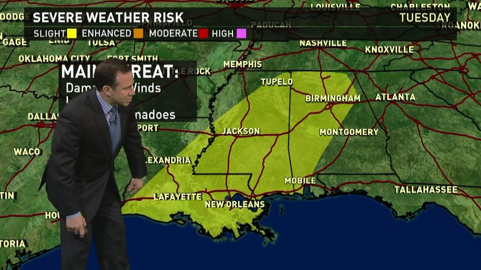 Tuesday 39 s forecast severe storms near gulf coast for Today s fishing forecast