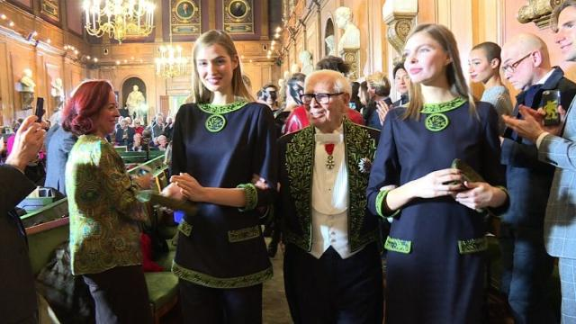 French designer Pierre Cardin marks the 70th anniversary of his illustrious career with a fashion show. Video provided by AFP