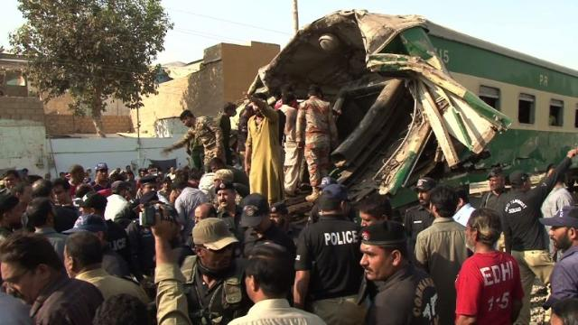 At least 17 people have been killed and dozens more injured after two trains carrying hundreds of passengers collided in Pakistan's southern port city of Karachi, officials say. Video provided by AFP