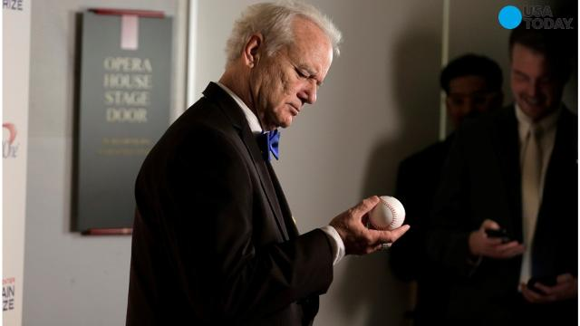 Bill Murray celebrates with the Cubs