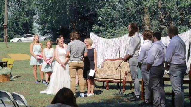 Sports fan gives wedding vows using sports references