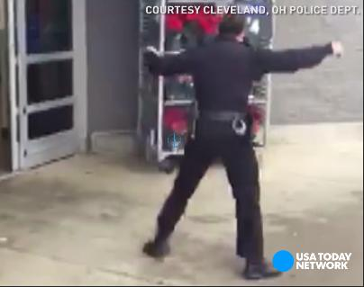 Dancing cop raises money, spirits for Salvation Army