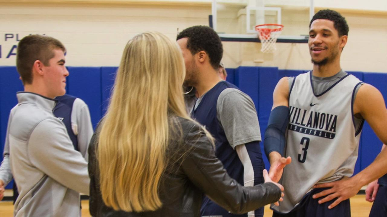 Two families impacted by tragedies during Sept. 11 are provided an opportunity to meet the Villanova basketball team.