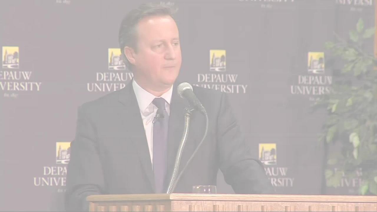 Former British Prime Minister David Cameron spoke about the Brexit vote and Donald Trump's election, at DePauw University in Terre Haute, Indiana on Thursday. (Dec. 9)