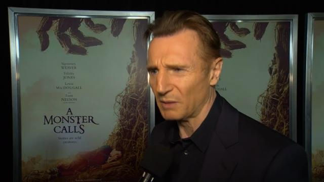"""At the film's New York premiere, stars Liam Neeson and Sigourney Weaver say their new fantasy drama """"A Monster Calls"""" is """"very entertaining"""" and not """"sad and dull."""" (Dec. 9)"""