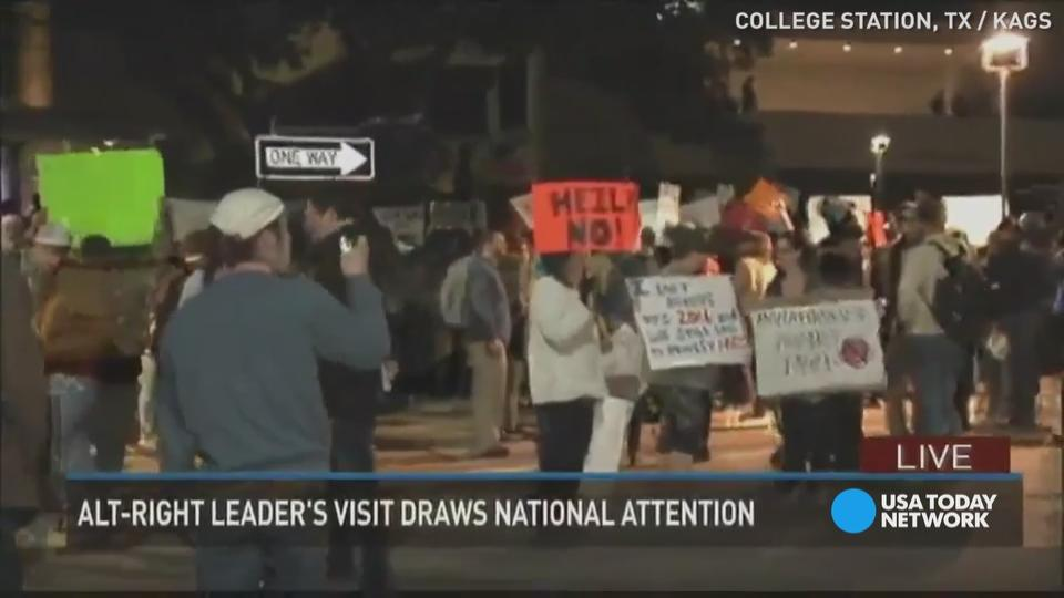 Hundreds Protest White Nationalist at Texas A&M University