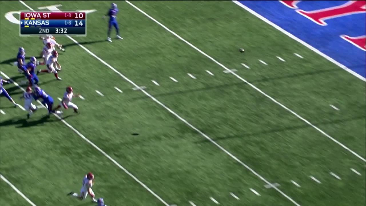 Kansas coach David Beaty made the call to have his player camouflage himself in the end zone on a kickoff before receiving a lateral and working his way to great field position in an eventual loss to Iowa State.