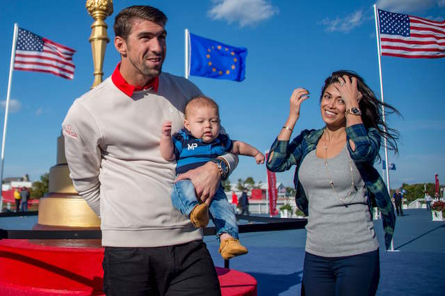 Michael Phelps and his wife Nicole Johnson give an update on their baby Boomer's swimming lessons.
