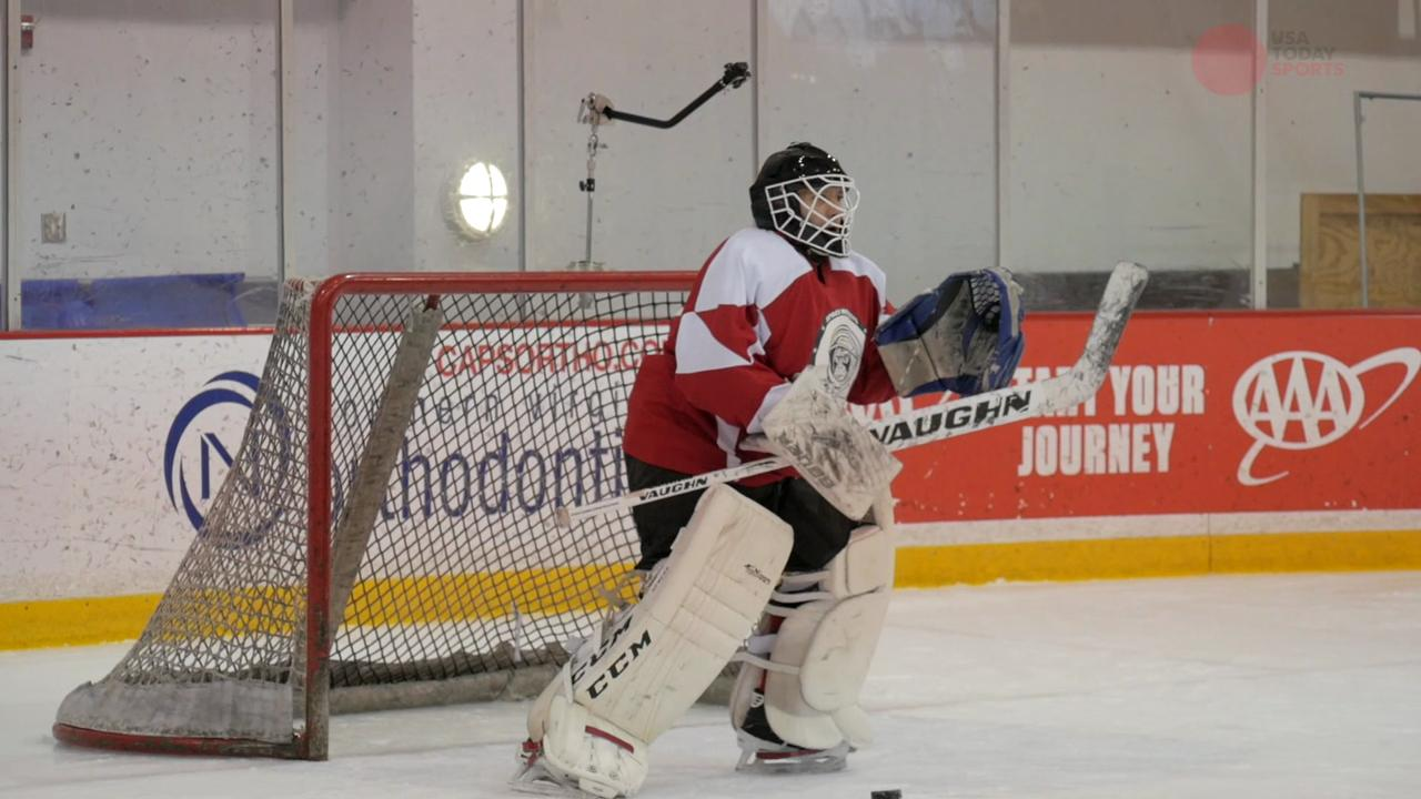 USA TODAY Sports reporter and amateur goalie A.J. Perez got an opportunity to face off against NHL star Alex Ovechkin.