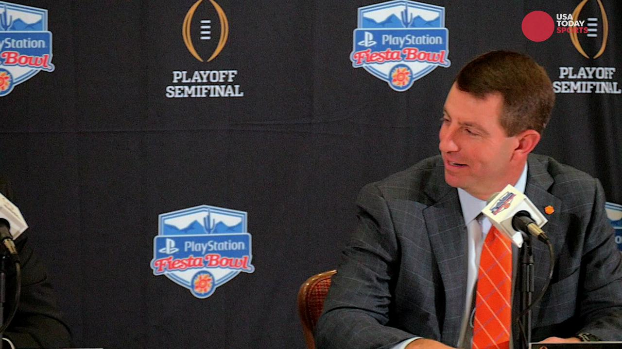 "During the joint head coach press conference at the Fiesta Bowl, Clemson coach Dabo Swinney jokes that Ohio State's success is due to ""gameday underwear."""