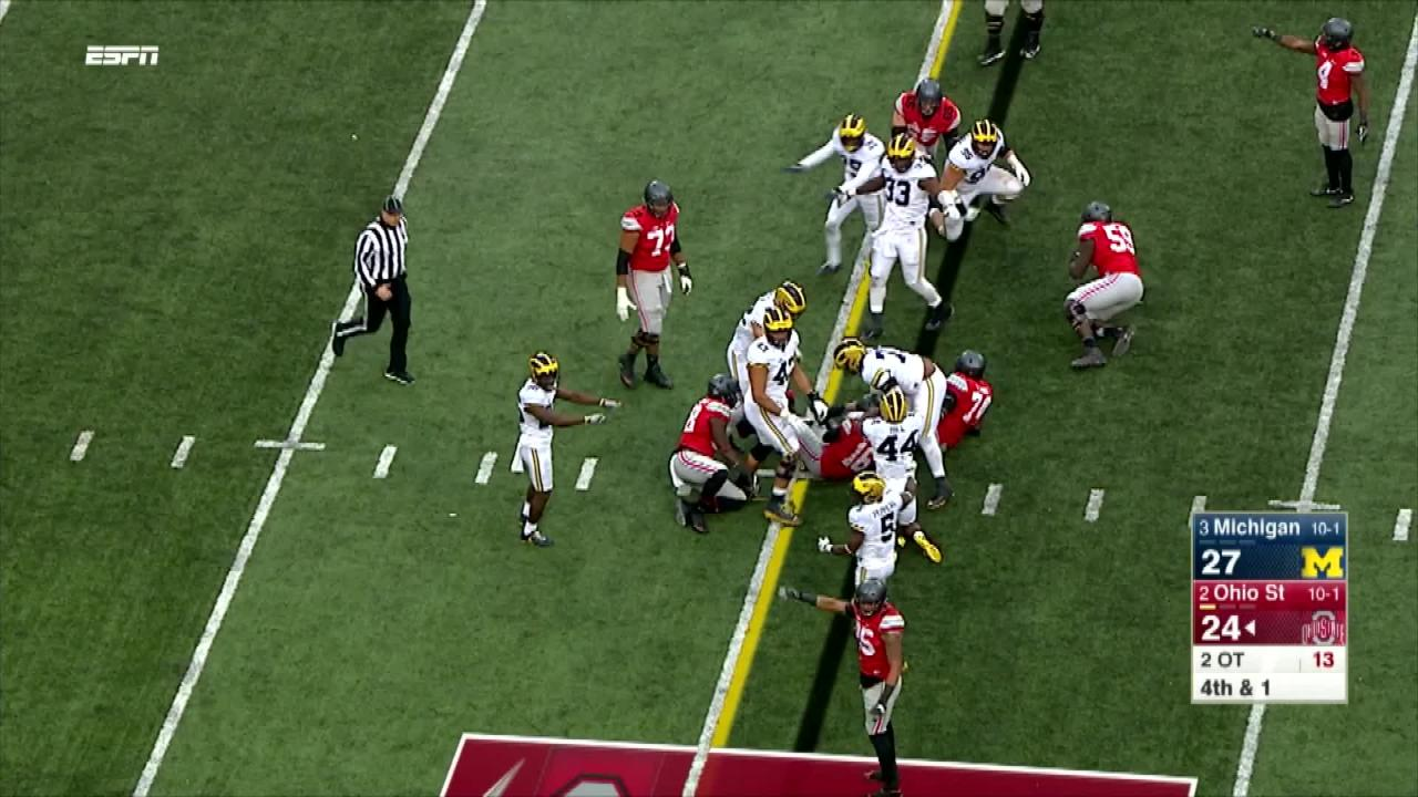 Urban Meyer went for it on fourth down in the second overtime against Michigan and his Buckeyes rewarded him with a first down -- and a touchdown to win the game on the next play.