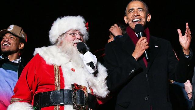 President Obama and Chance the Rapper sing Christmas carols together