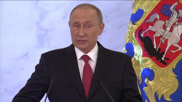 "President Vladimir Putin adopts a conciliatory tone to international rivals in a key speech, saying Russia has ""never looked for enemies"" in the international community. Video provided by AFP"