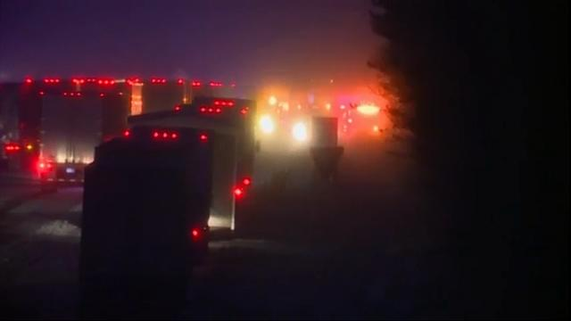 Authorities say an interstate east of Cleveland is open again after a pileup of about 50 vehicles in snowy conditions shut down the highway for more than 14 hours. (Dec. 9)