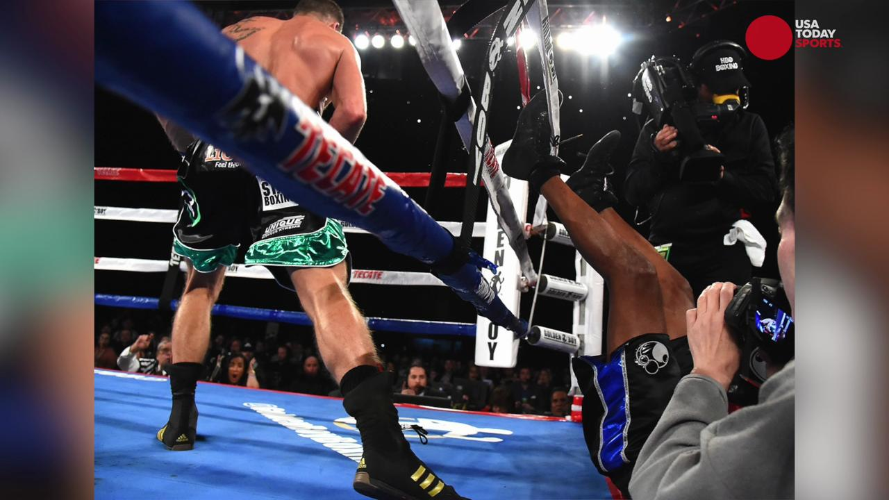 USA TODAY Sports Images photographer Jayne Kamin-Oncea captured these amazing photographs the when Bernard Hopkins was knocked out of the ring in his retirement bout.