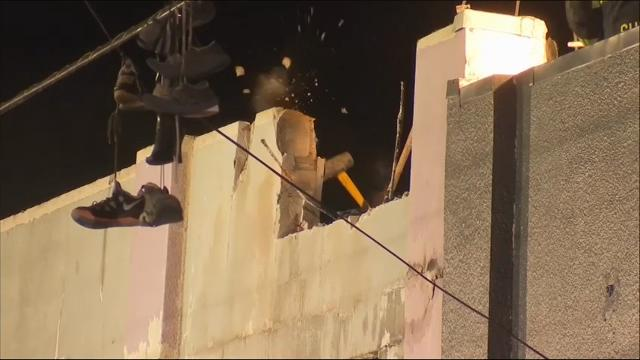 Raw: Part of Oakland warehouse wall knocked down