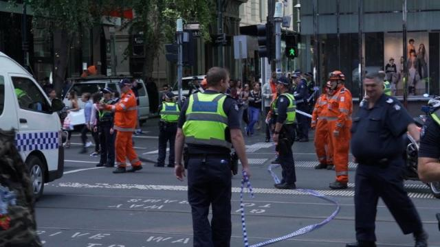At least three people have died when a car ploughed into pedestrians in the Australian city of Melbourne, but police say it is not a terror attack. Video provided by AFP