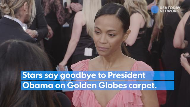 At the 2017 Golden Globes, stars told USA Today their goodbye messages to President Obama as he gets ready to leave office.