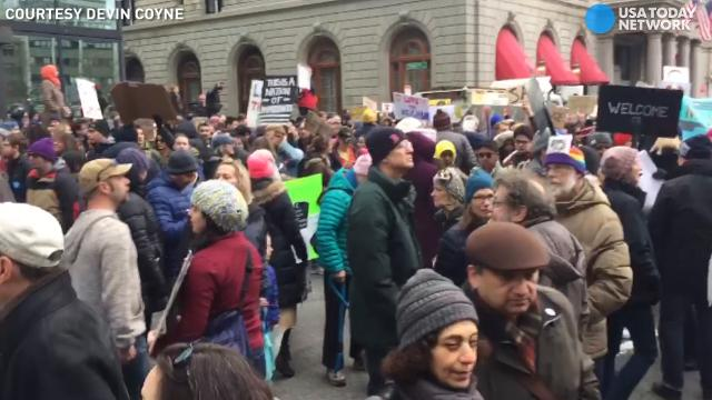 Immigration ban protesters gather in Boston